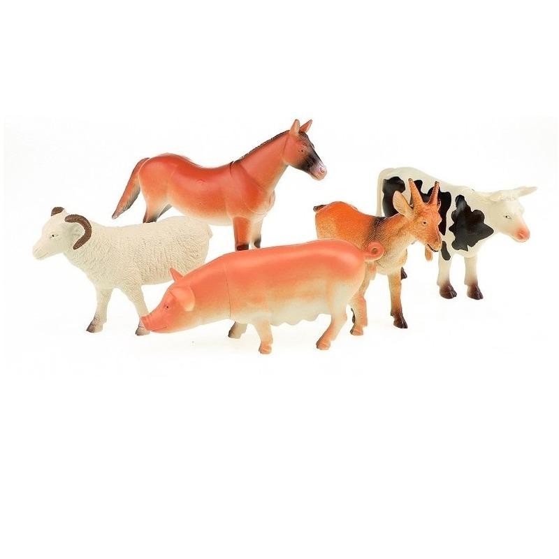 5x plastic boerderijdieren figuren speelgoed