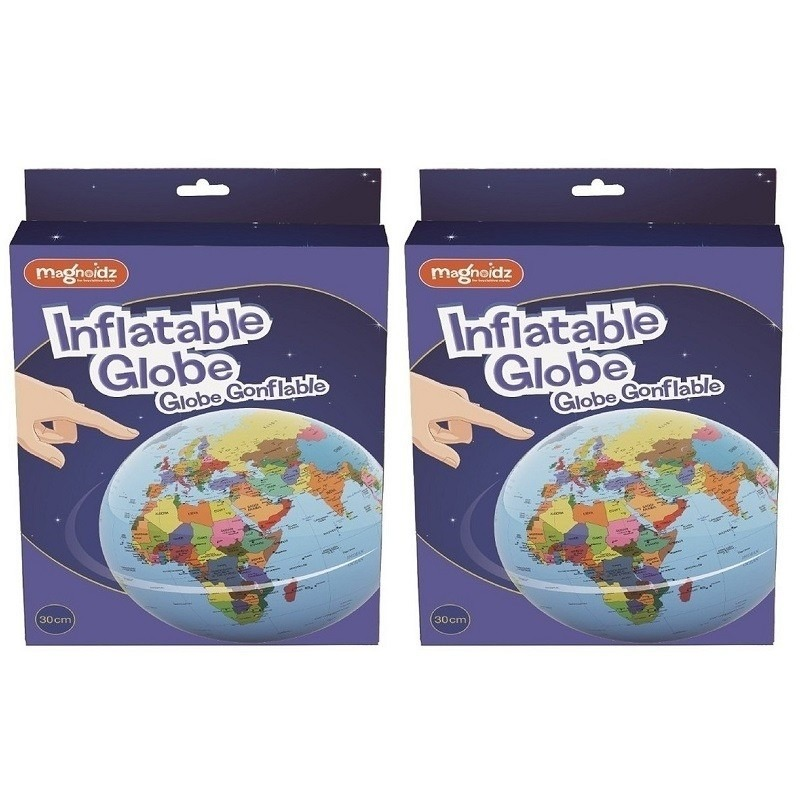 2x opblaasbare speelgoed wereldbollen/globes 30 cm