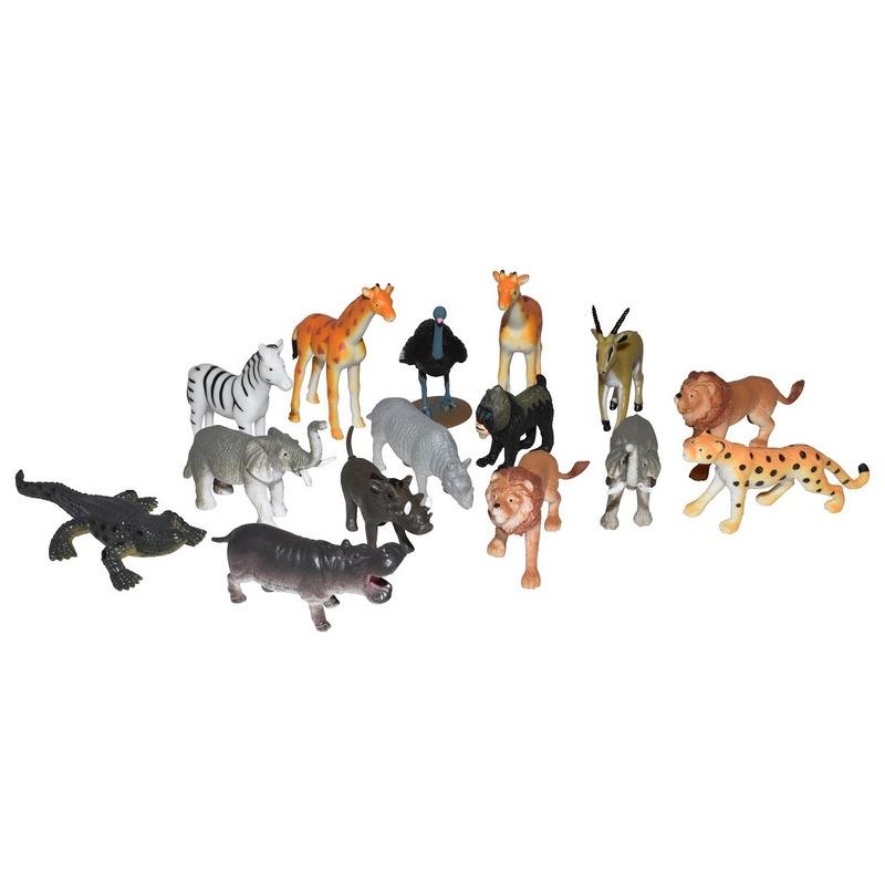 Set met mini afrikaanse dieren speelgoed figuren 15 delig