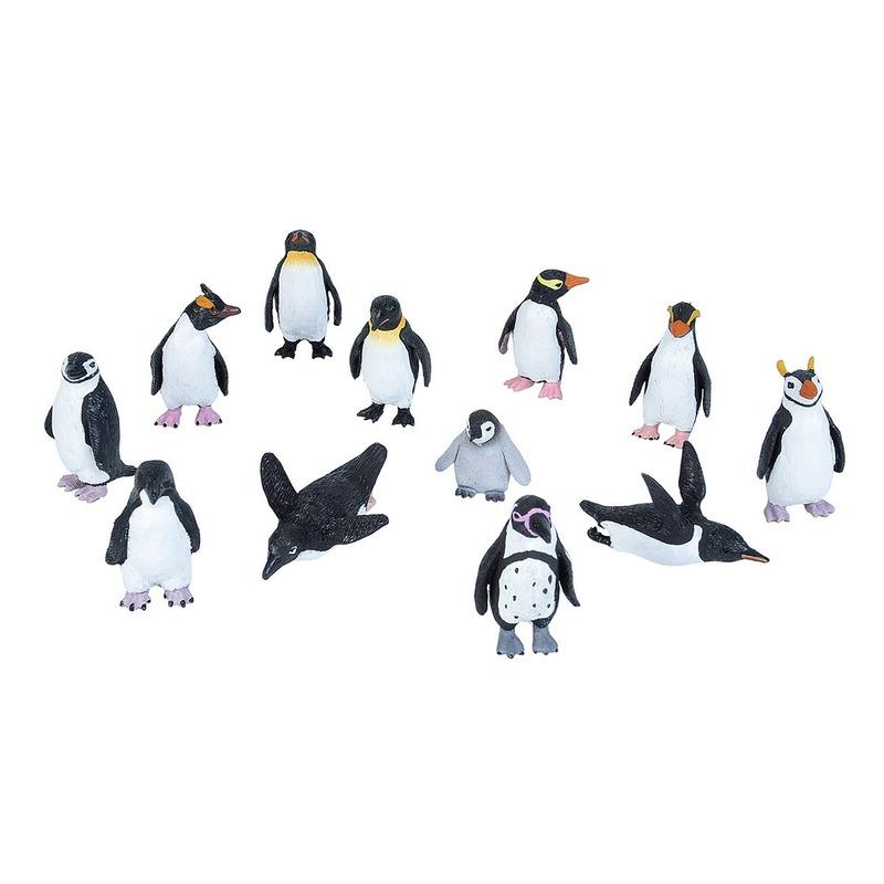 Set met mini pinguins dieren speelgoed figuren 10 delig