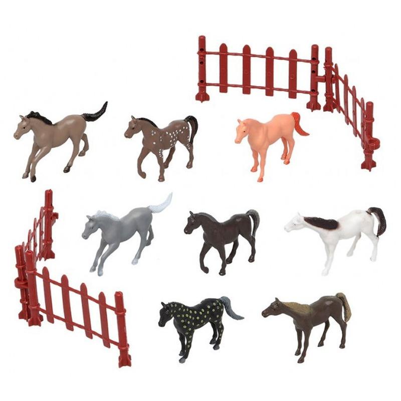 8x plastic paardjes speelgoed figuren voor kinderen