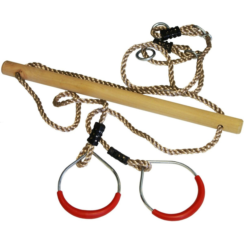 Buitenspeelgoed speeltoestel trapeze en ringen rood 16 x 21 cm