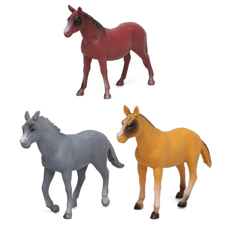 3x plastic paardjes speelgoed figuren voor kinderen