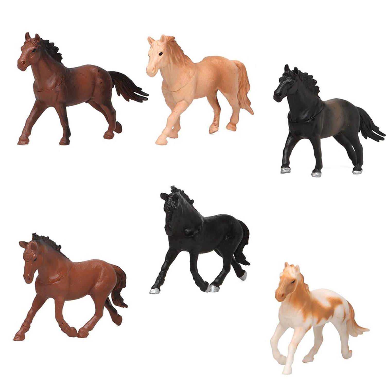 6x plastic paardjes speelgoed figuren voor kinderen 10207320