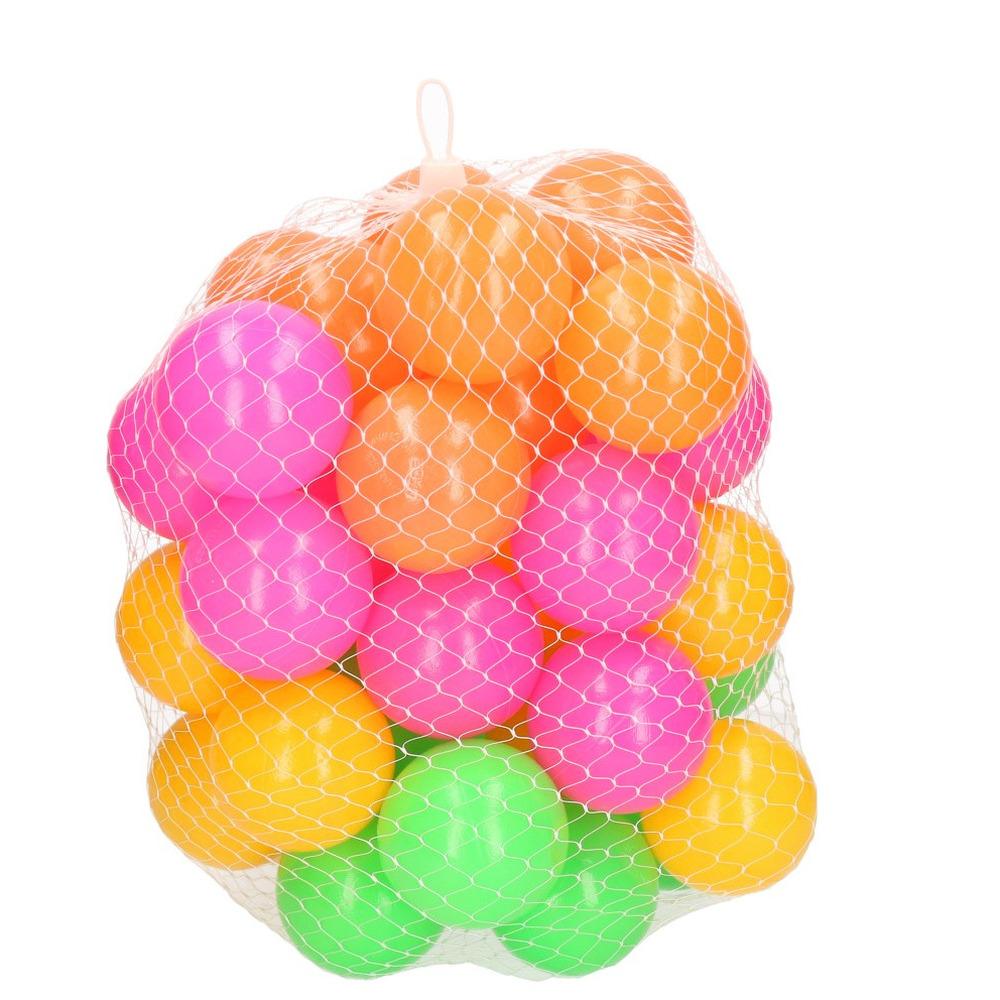 40x ballenbakballen neon kleuren 6 cm speelgoed