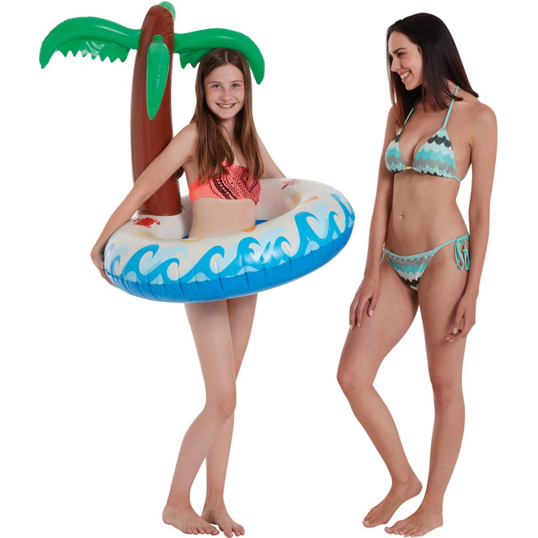 Waterspeelgoed eiland palmboom zwemband zwemring 79 x 85 cm voor jongens meisjes kinderen en dames heren volwassenen