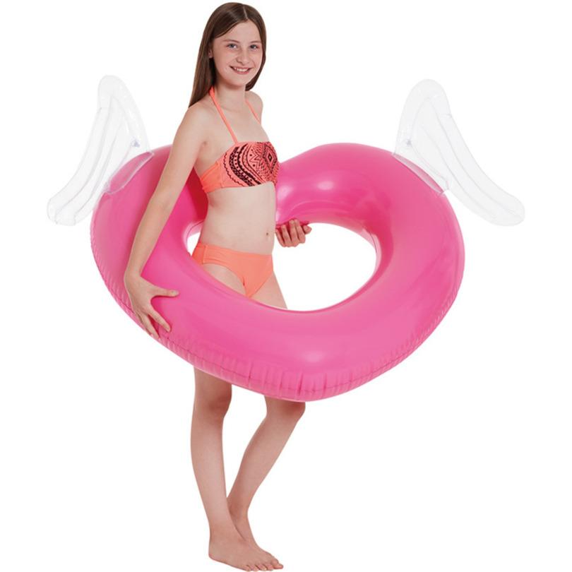 Waterspeelgoed roze hart zwemband zwemring 108 cm voor jongens meisjes kinderen en dames heren volwassenen