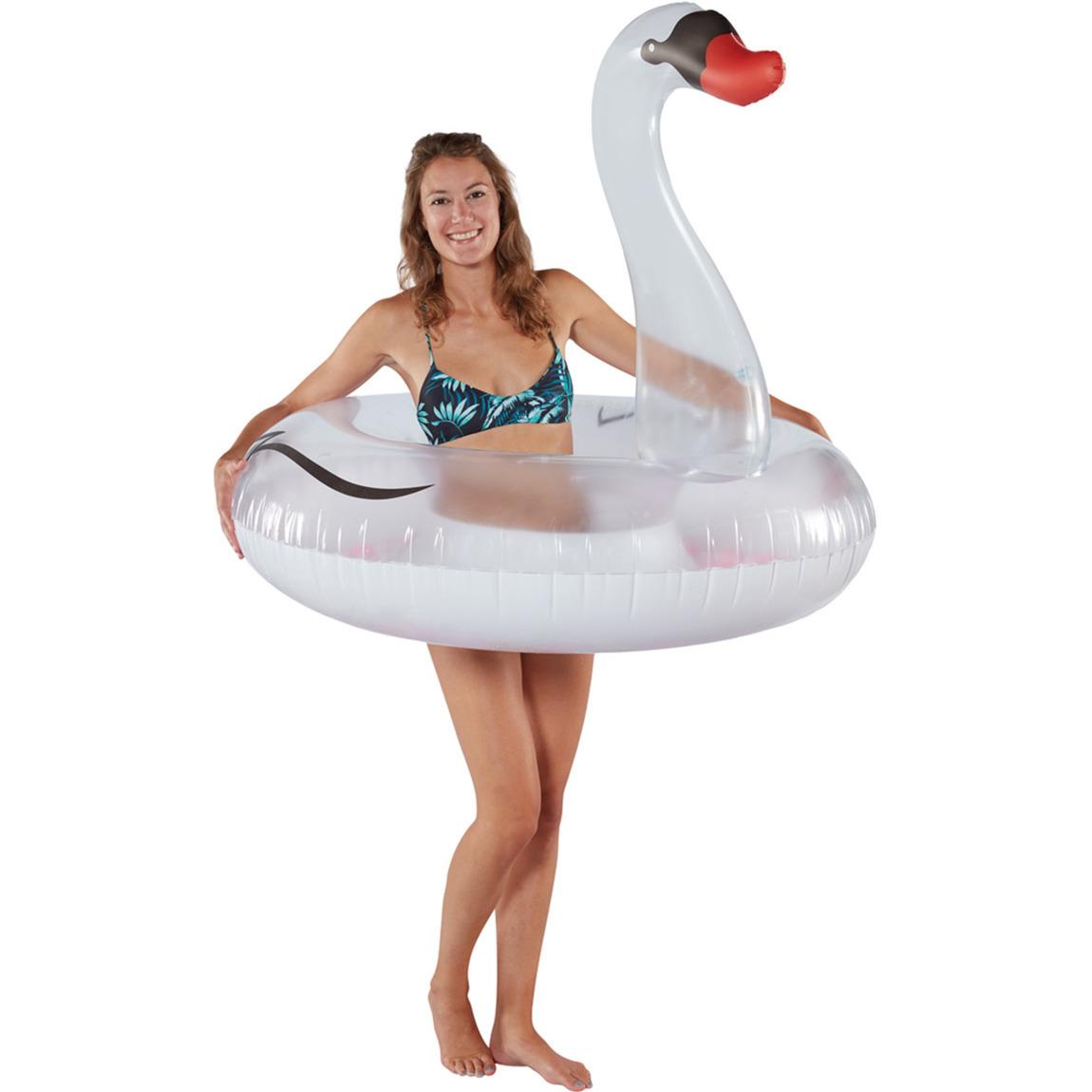 Waterspeelgoed witte zwanen zwemband zwemring 120 cm voor jongens meisjes kinderen en dames heren volwassenen