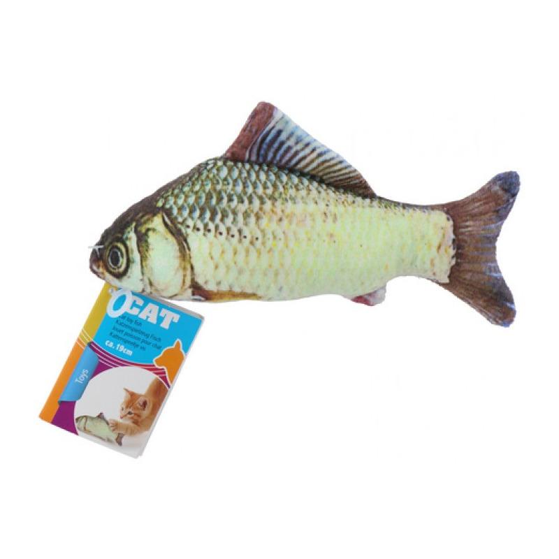 1x vissenknuffels voor katten poezen 19 cm karper