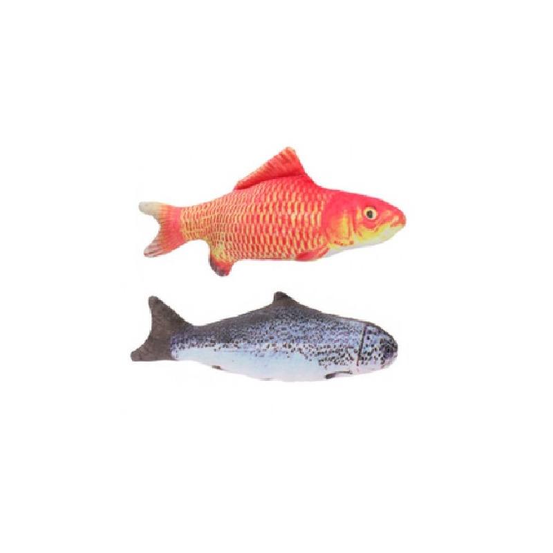 2x vissenknuffels voor katten poezen 19 cm goudvis en zalm