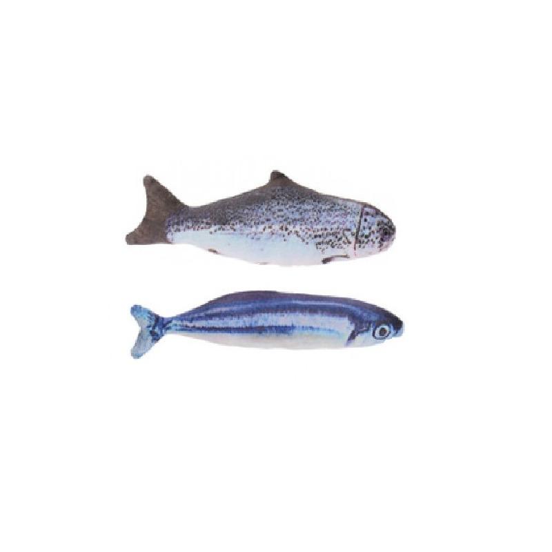 2x vissenknuffels voor katten poezen 19 cm zalm en makreel