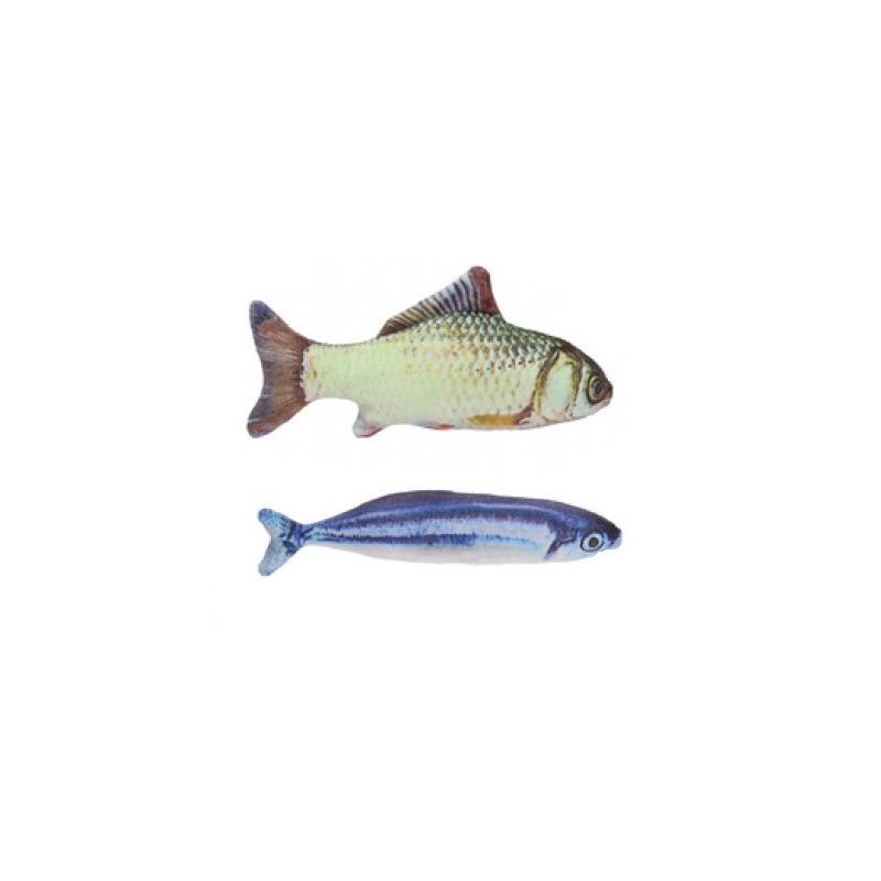 2x vissenknuffels voor katten poezen 19 cm karper en makreel