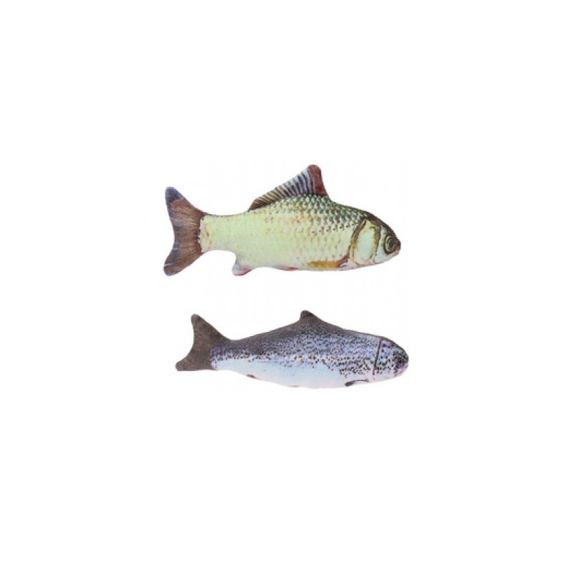 2x vissenknuffels voor katten poezen 19 cm karper en zalm