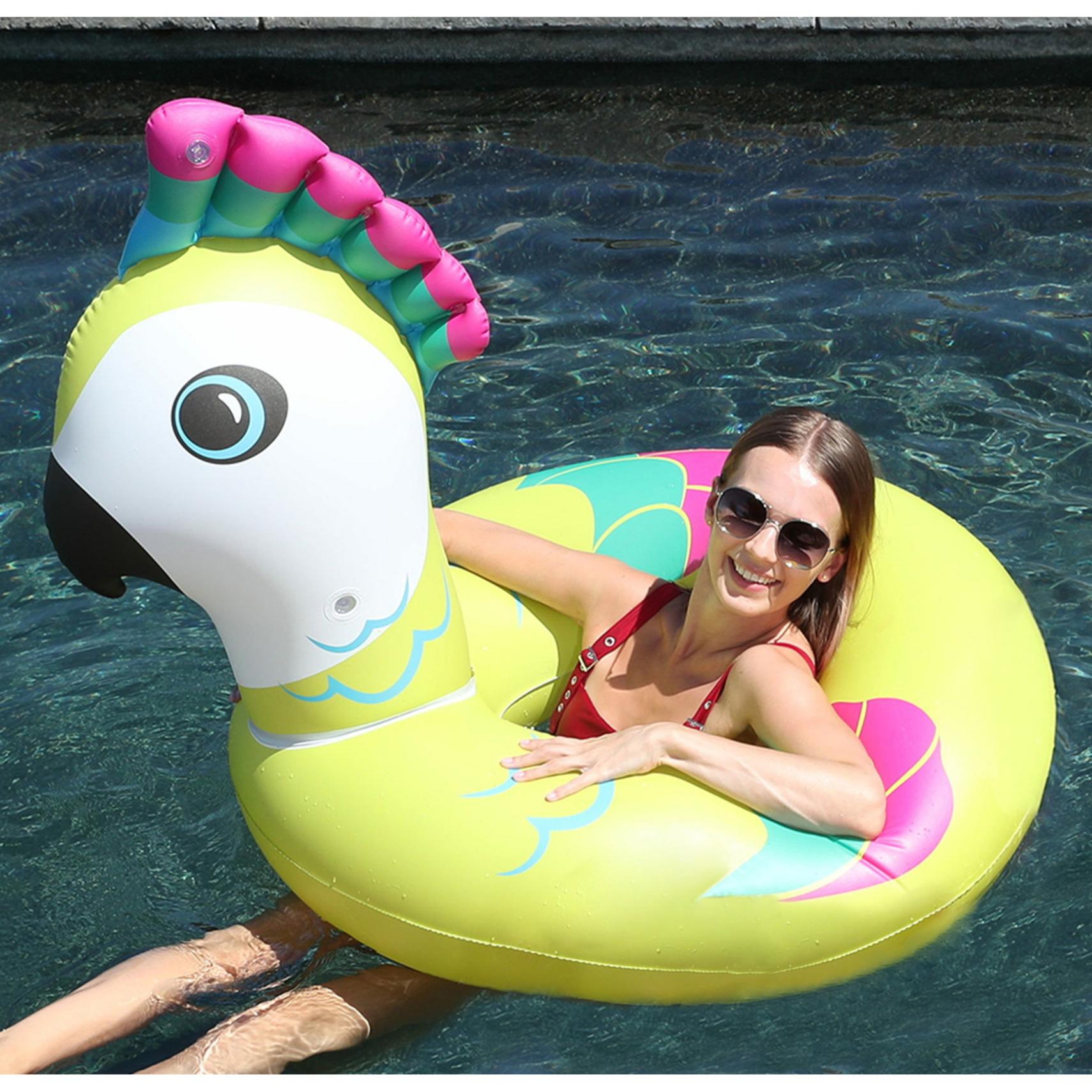 Waterspeelgoed gekleurde vogel zwemband zwemring 88 x 101 x 82 cm voor jongens meisjes kinderen en dames heren volwassenen