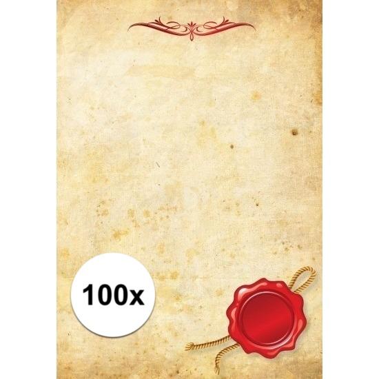 100x briefpapier a4 perkament stijl