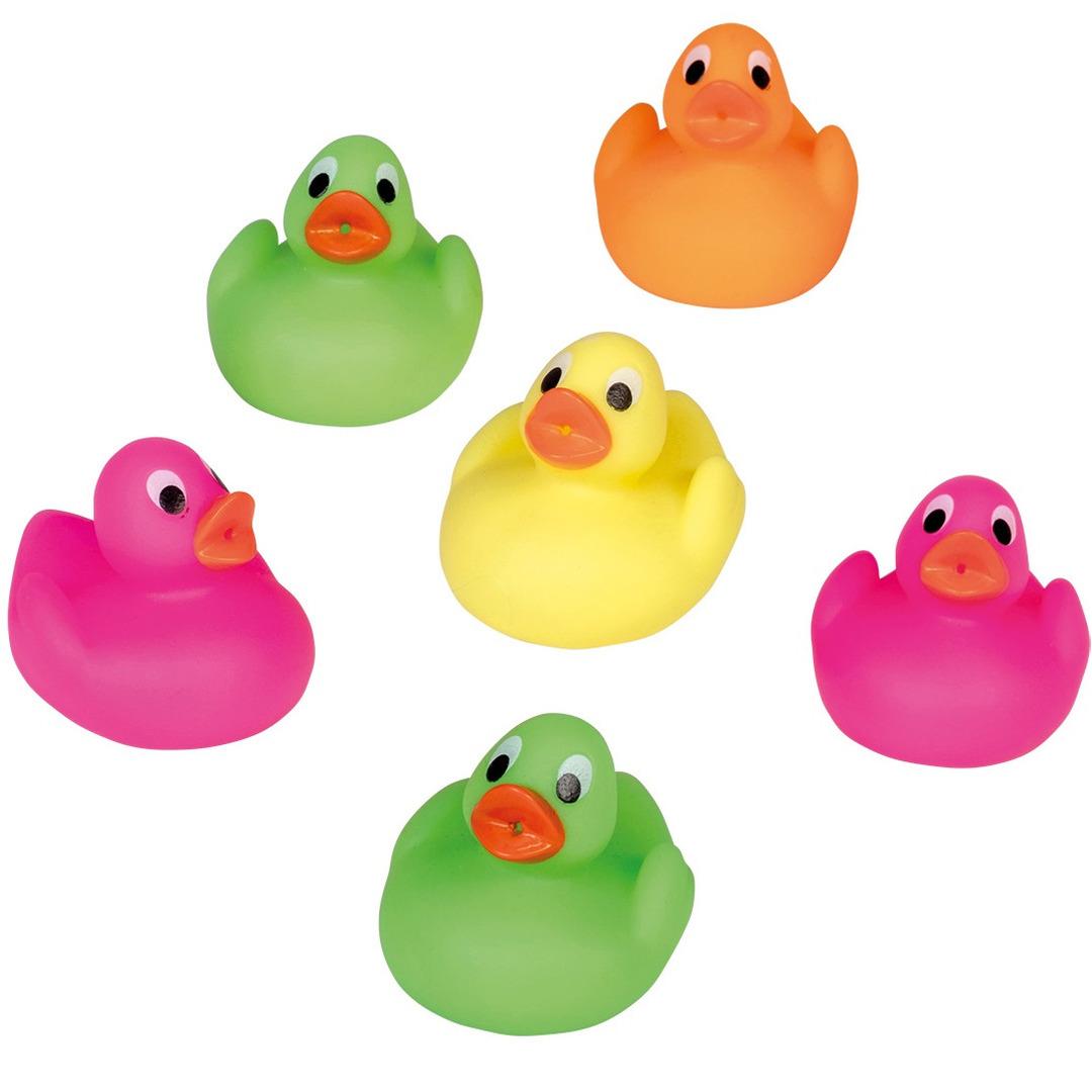 12x badeendjes felle kleuren badspeelgoed 5 cm