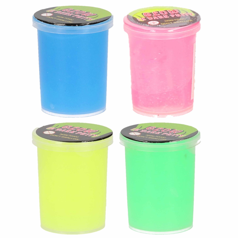 16x stuks potjes met glow in the dark speelgoed slijm in 4 kleuren