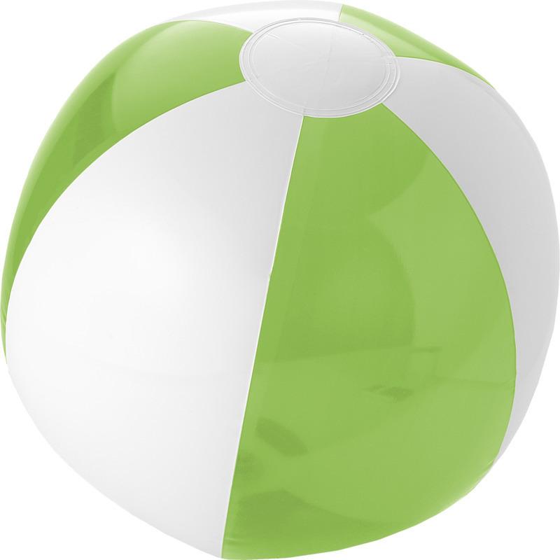 1x opblaas groen witte strandballen 30 cm waterspeelgoed