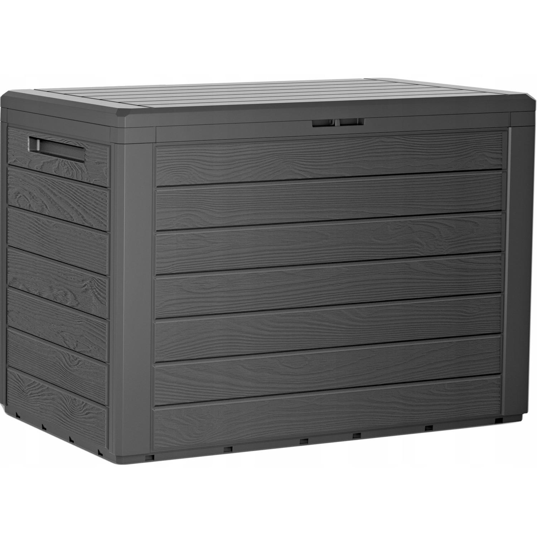 1x stuks antraciet tuin kussen opbergbox hout patroon 190 liter van kunststof