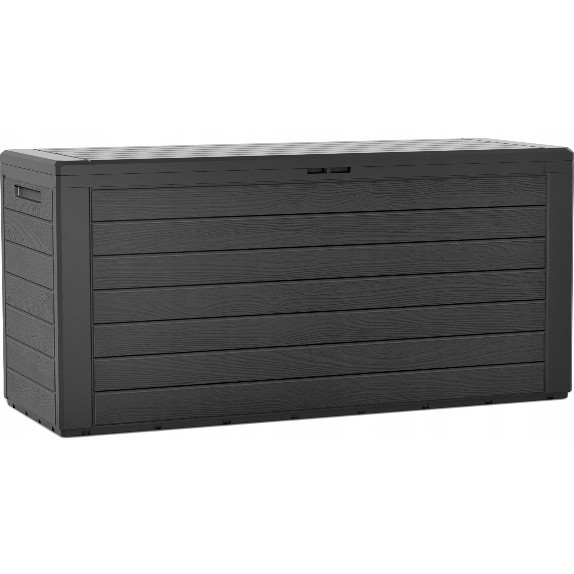 1x stuks antraciet tuinkussen box hout motief 280 liter van kunststof