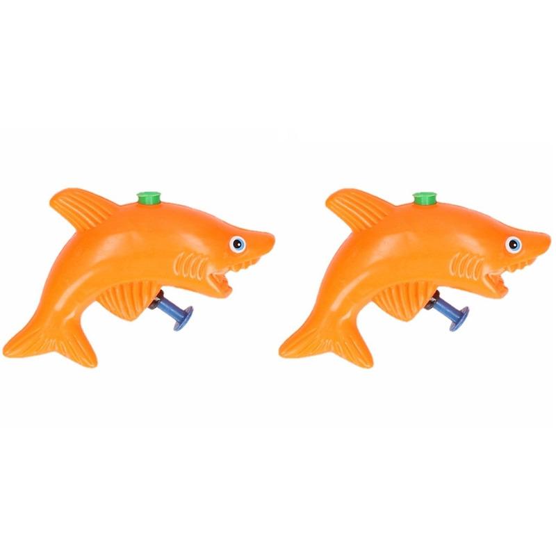 20x stuks speelgoed waterpistolen haai oranje 9 cm