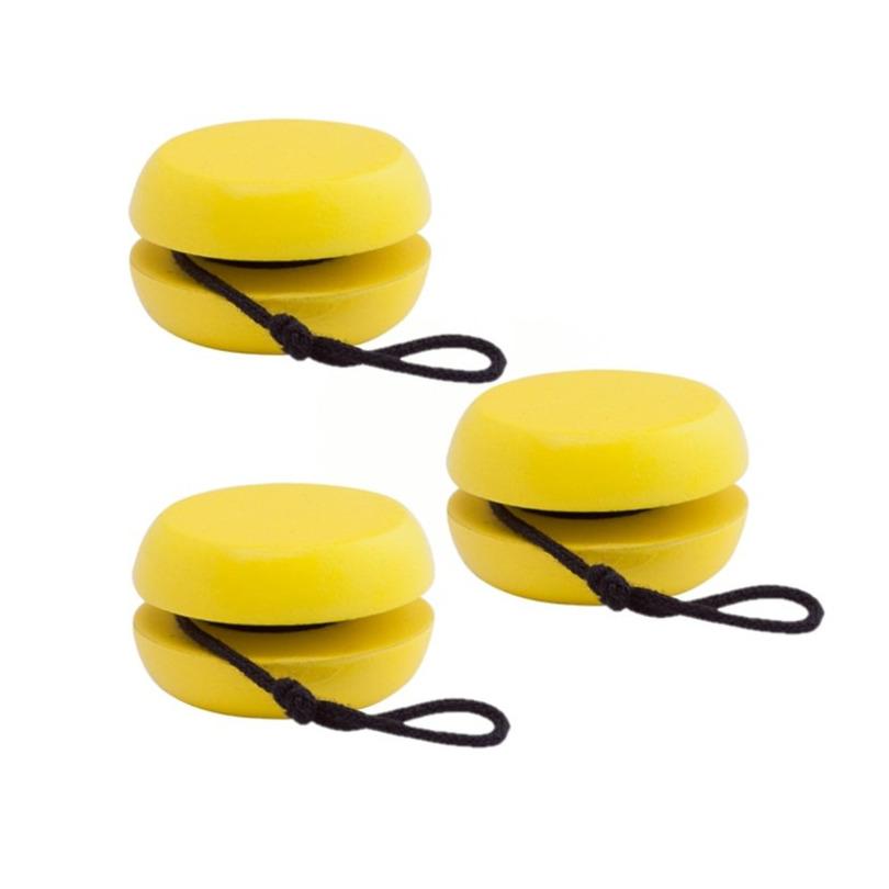 20x stuks houten jojo geel 5 5 cm