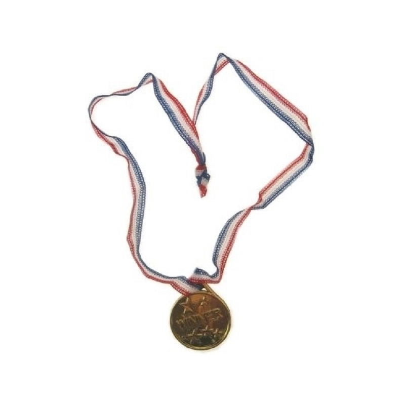 Zakjes met 24x goudkleurige party medailles