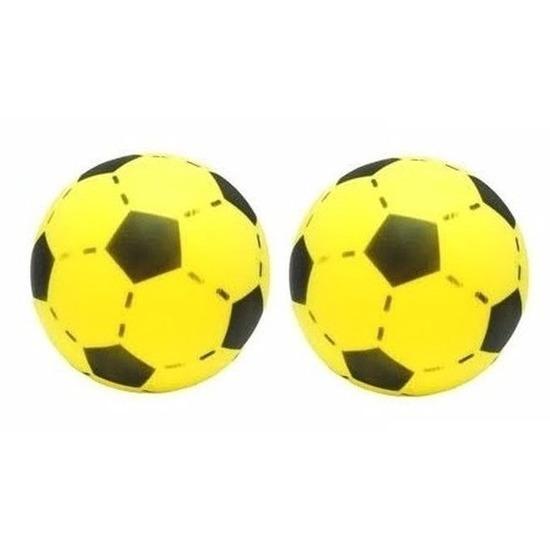 2x gele foam speelgoed voetballen 20 cm