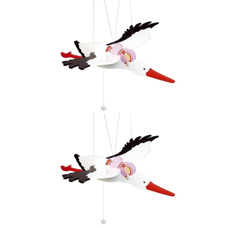 2x speelgoed ooievaar van hout roze