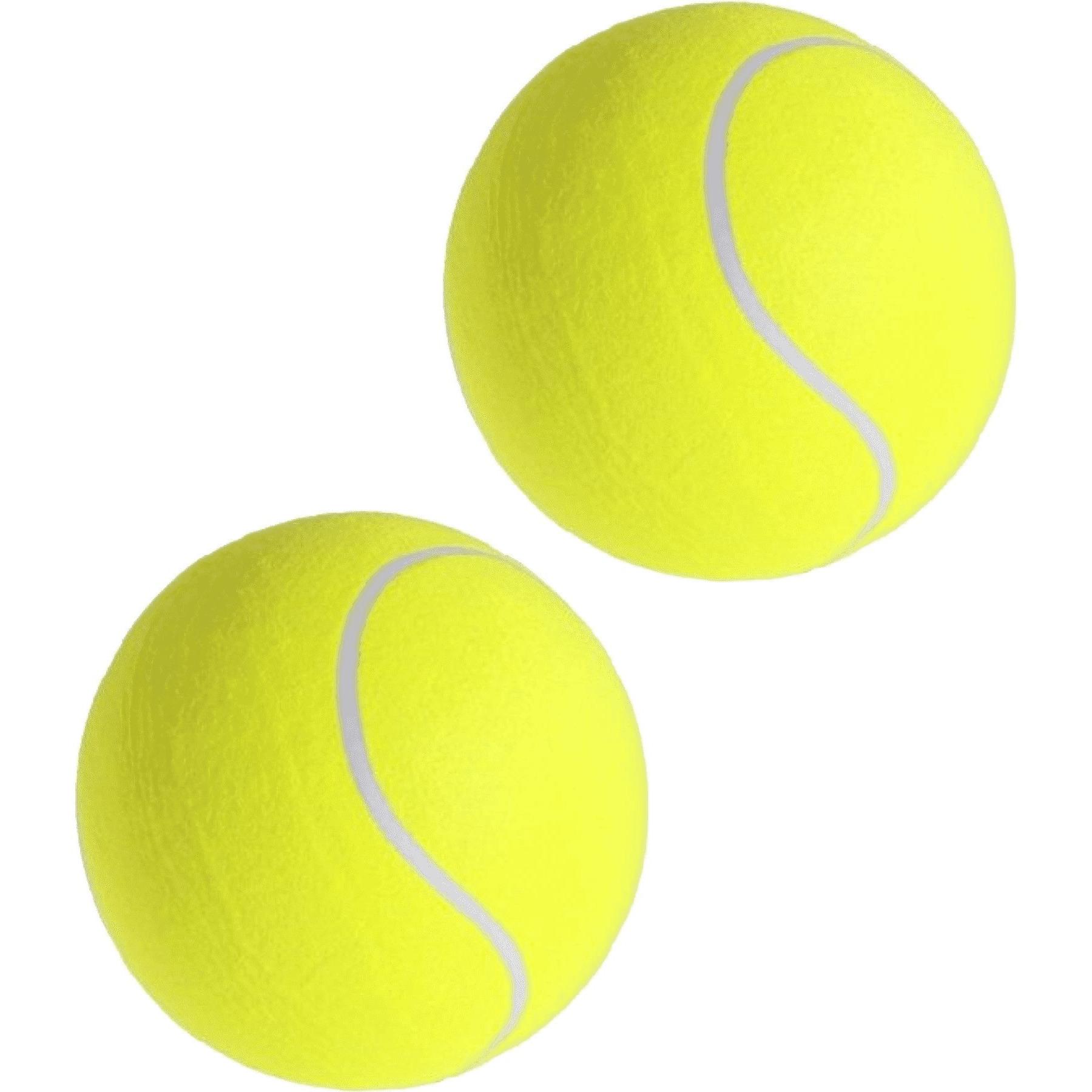 2x grote tennisballen xxl 22 cm buitenspeelgoed
