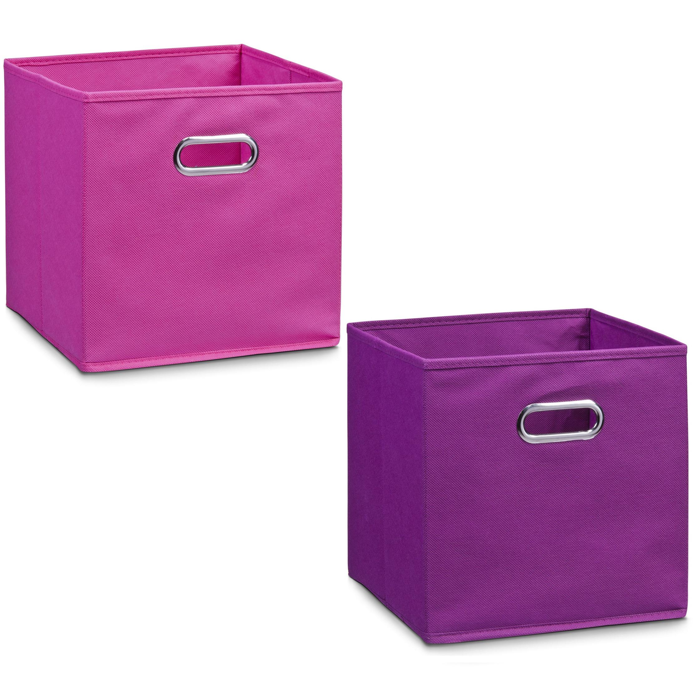 2x roze en paarse opbergmandjes kinderkamer 28 x 28 cm