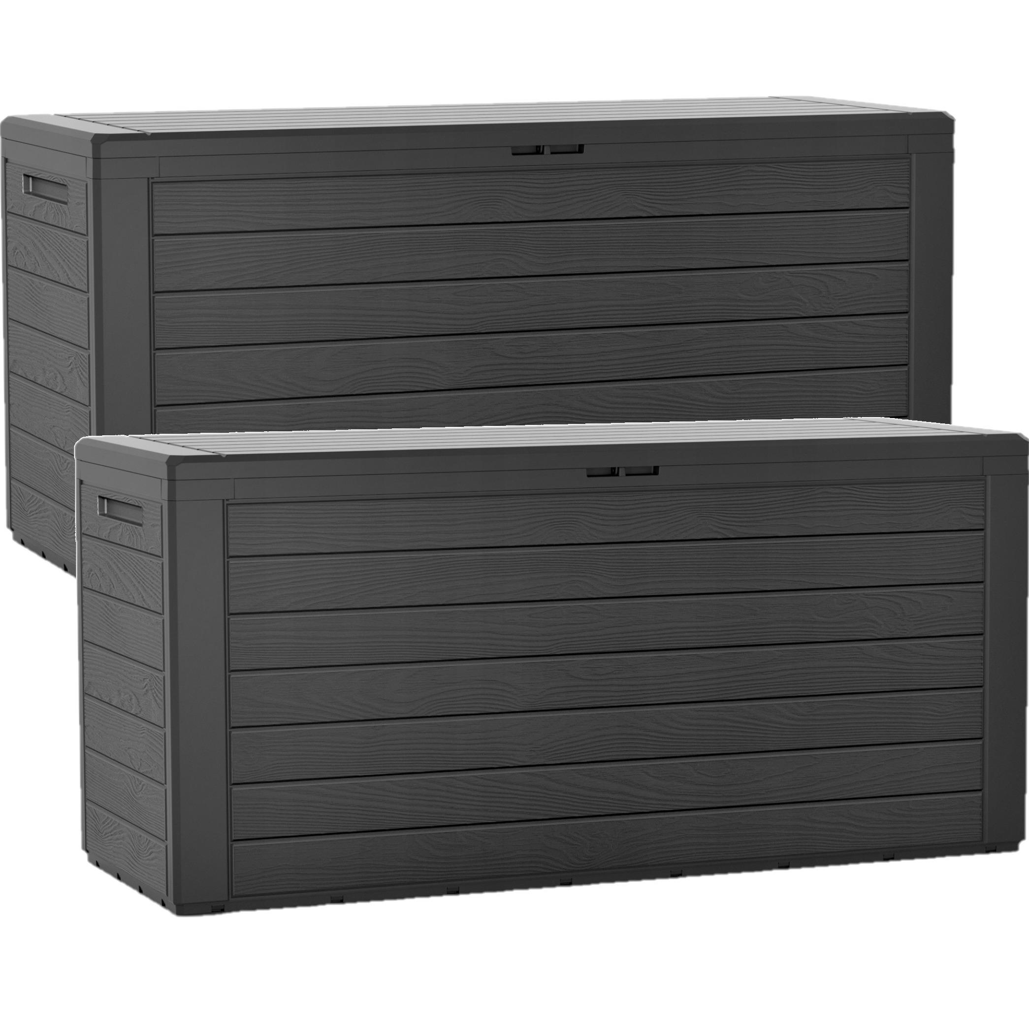 2x stuks antraciet tuinkussen box hout motief 280 liter