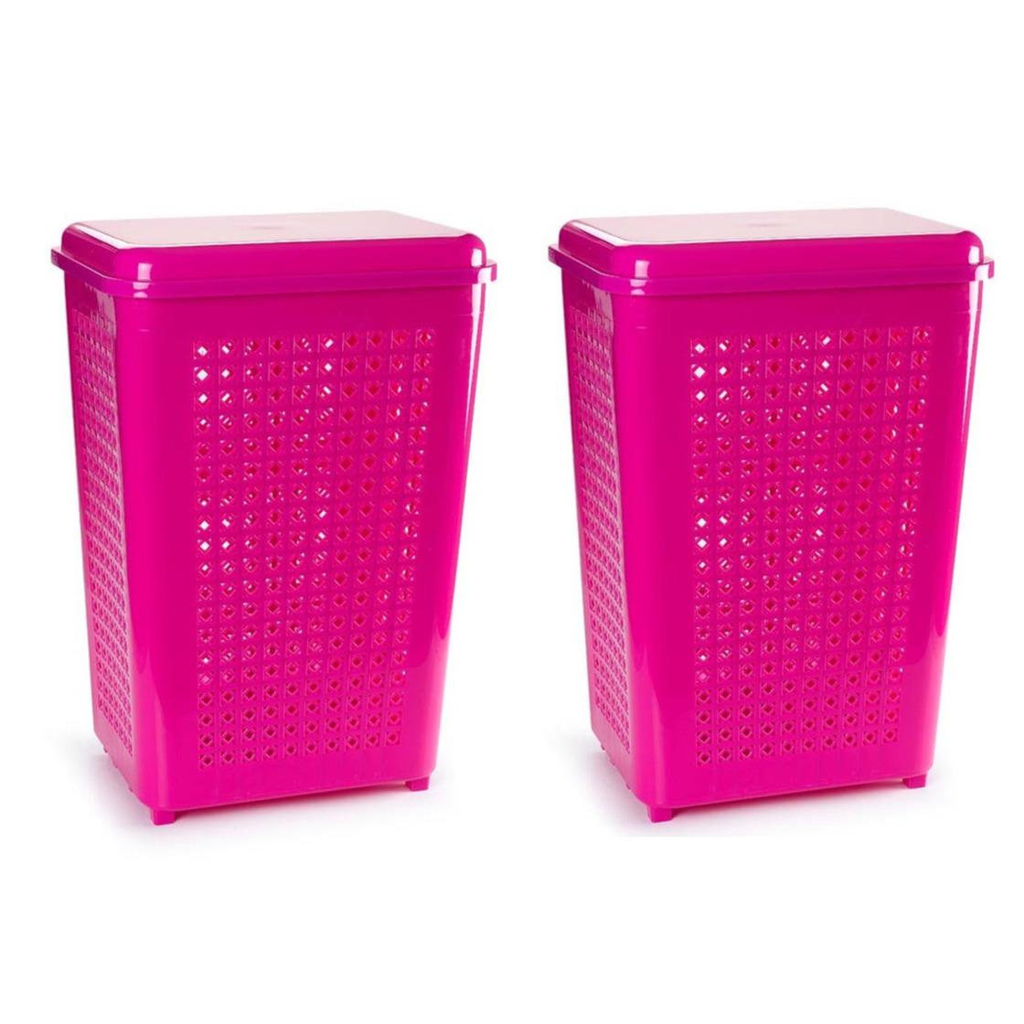 2x stuks grote wasmand opberg mand met deksel 50 liter in het fuchsia roze