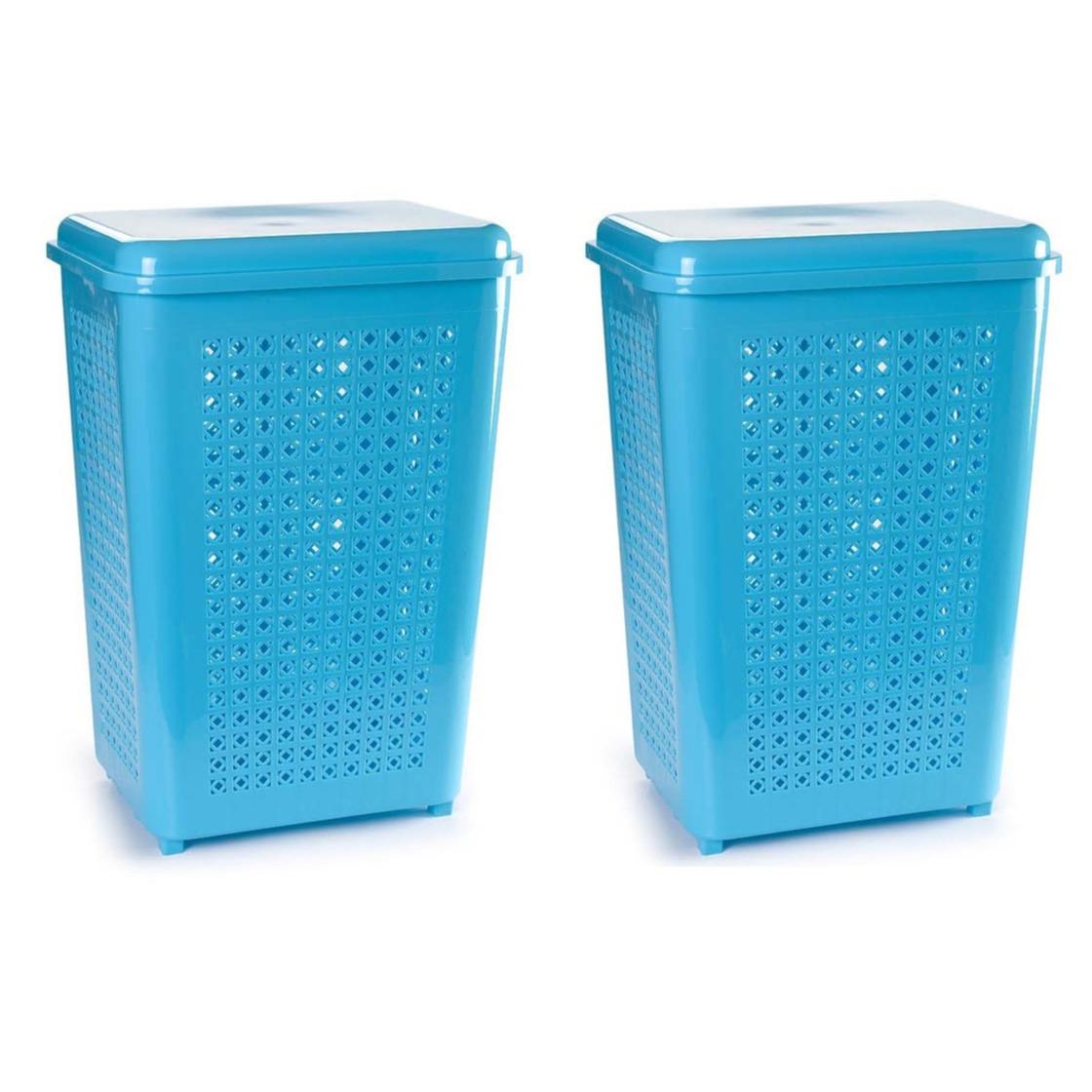 2x stuks grote wasmand opberg mand met deksel 50 liter in het lichtblauw