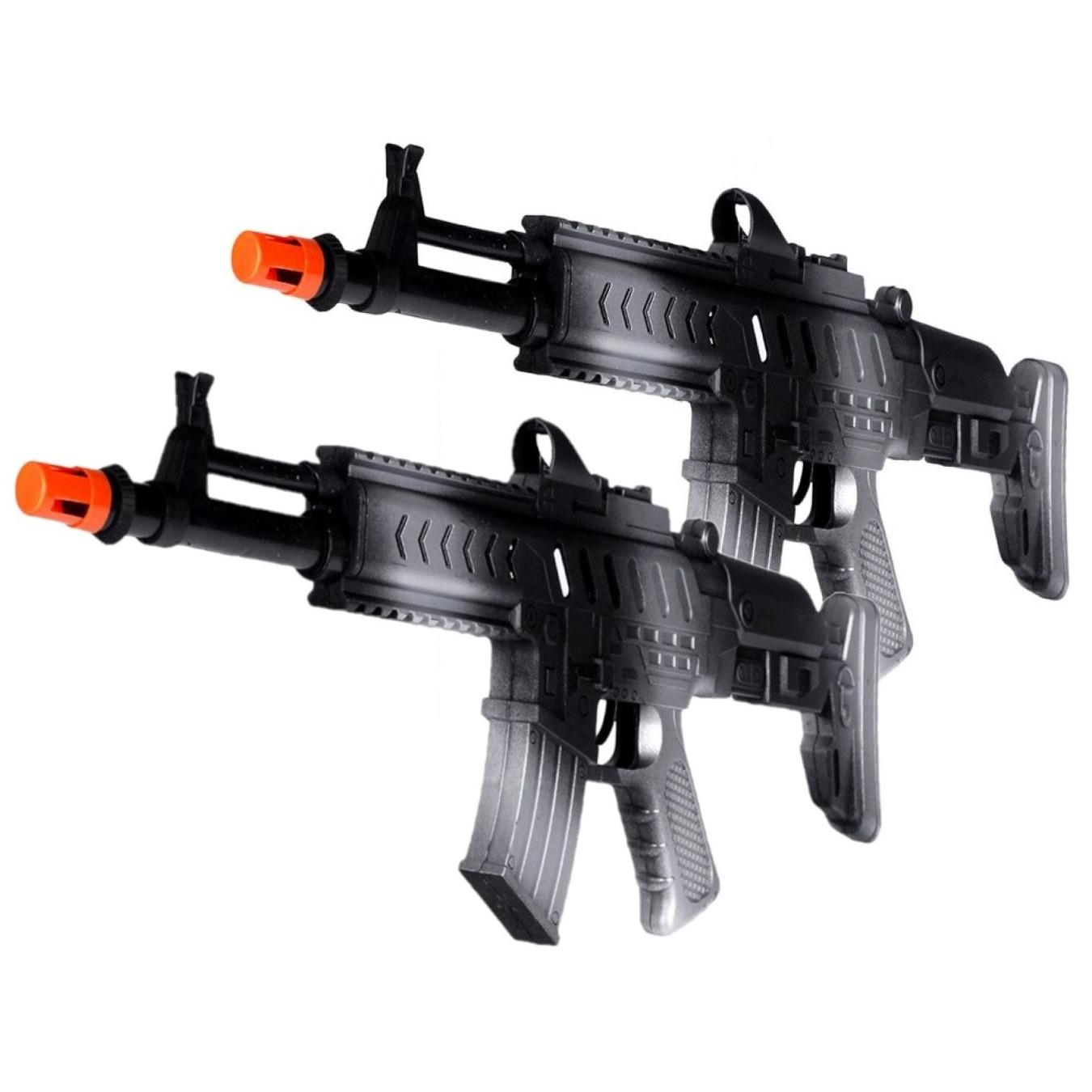 2x stuks kinder speelgoed verkleed wapens machinegeweren soldaten leger met geluid 50 cm