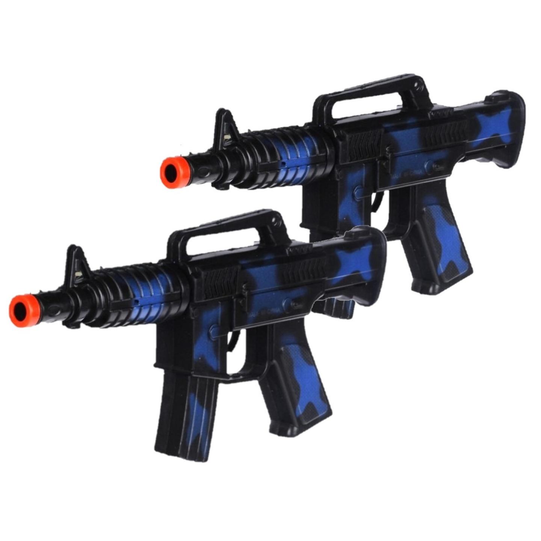 2x stuks kinder speelgoed verkleedwapens machinegeweren soldaten leger met geluid 27 cm