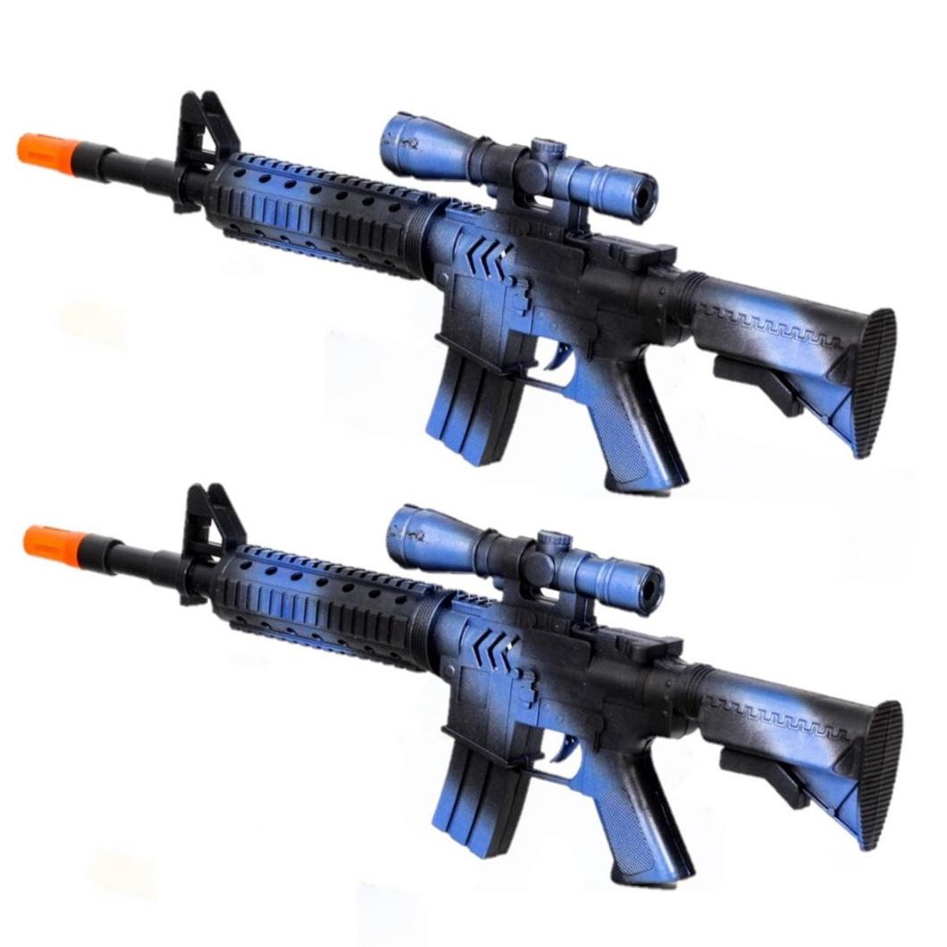 2x stuks kinder speelgoed verkleedwapens/machinegeweren soldaten/leger met geluid 39 cm