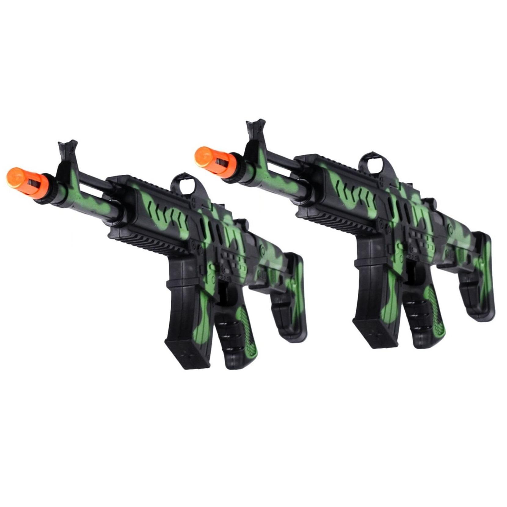 2x stuks kinder speelgoed verkleedwapens machinegeweren soldaten leger met geluid 50 cm