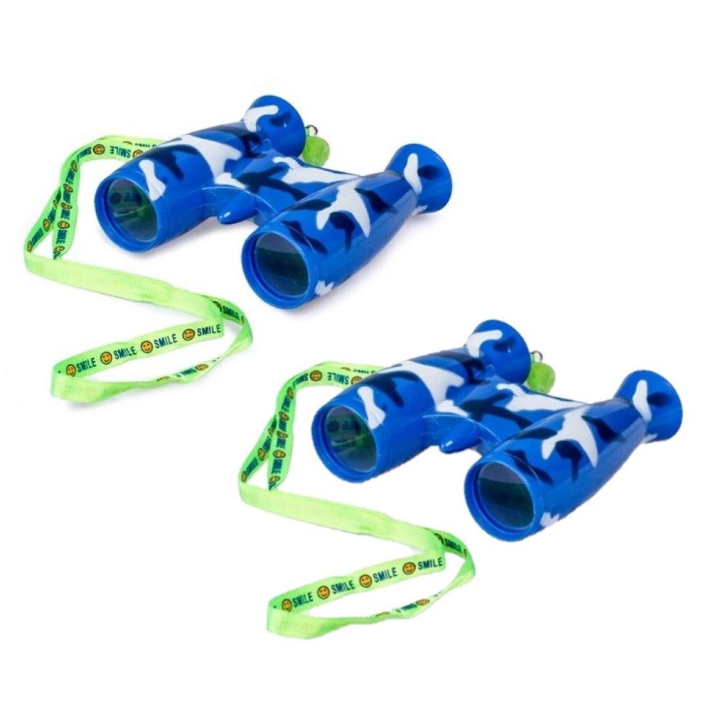 2x stuks kinder speelgoed verrekijkers blauw voor peuters 9 cm
