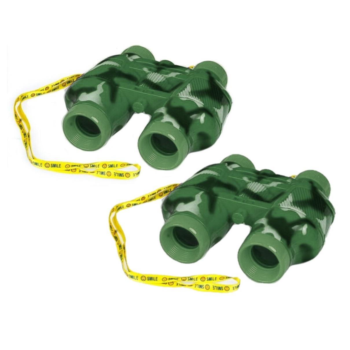 2x stuks kinder speelgoed verrekijkers groen voor peuters 14 cm