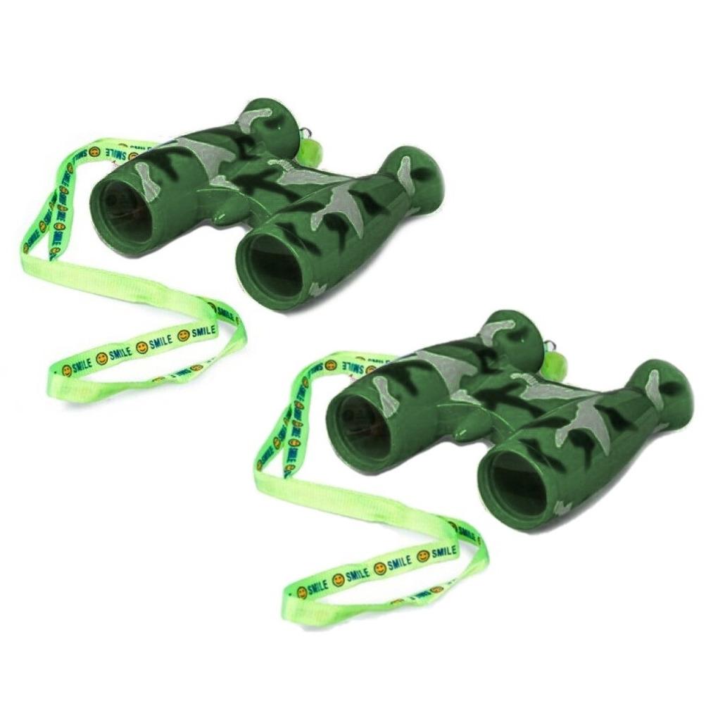 2x stuks kinder speelgoed verrekijkers groen voor peuters 9 cm