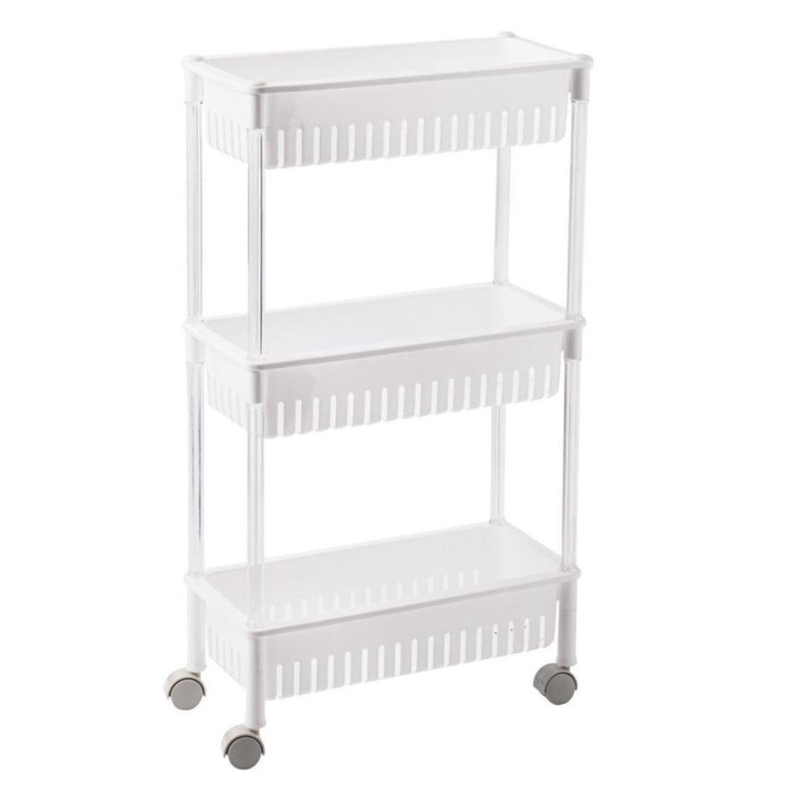 2x stuks opberg trolley roltafel organizer wit met 3 manden 42 x 26 x 80 cm