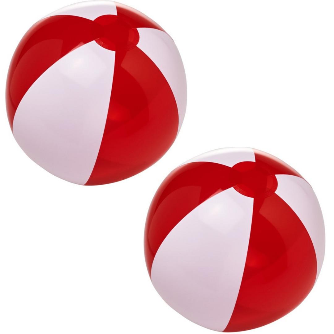 2x stuks opblaas rood witte strandballen 30 cm waterspeelgoed