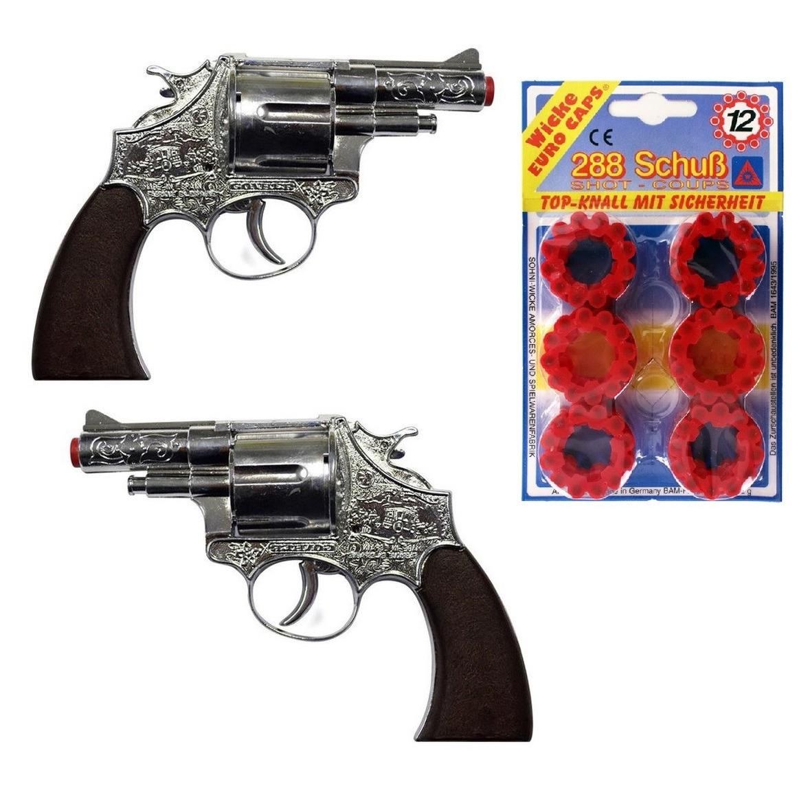 2x stuks plaffertjes speelgoed pistolen revolvers met 12 schoten magazijn