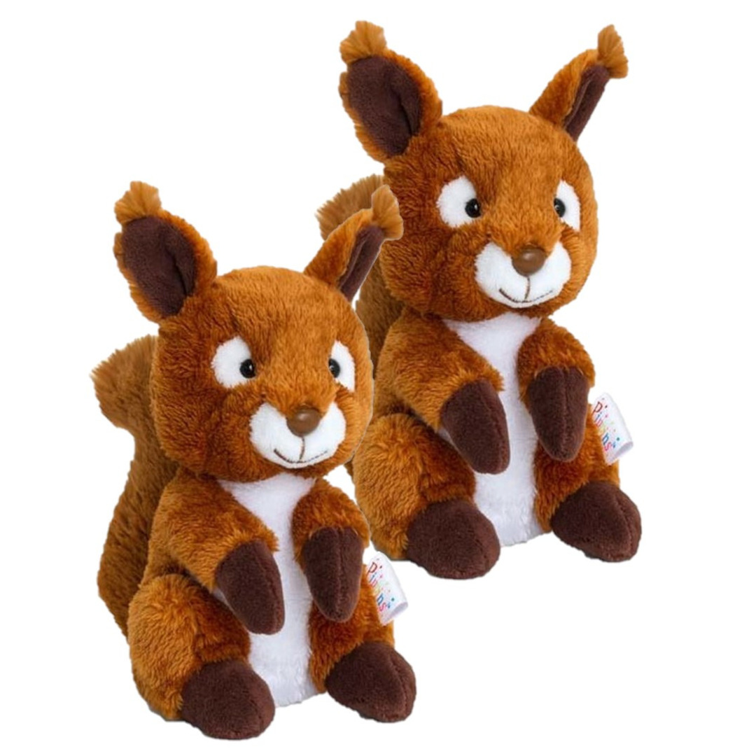 2x stuks kinder knuffels eekhoorn van 14 cm