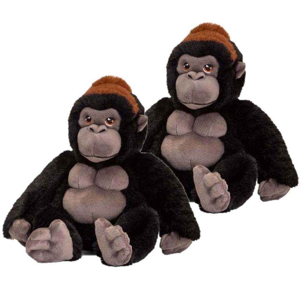 2x stuks kinder knuffels gorilla aap van 20 cm