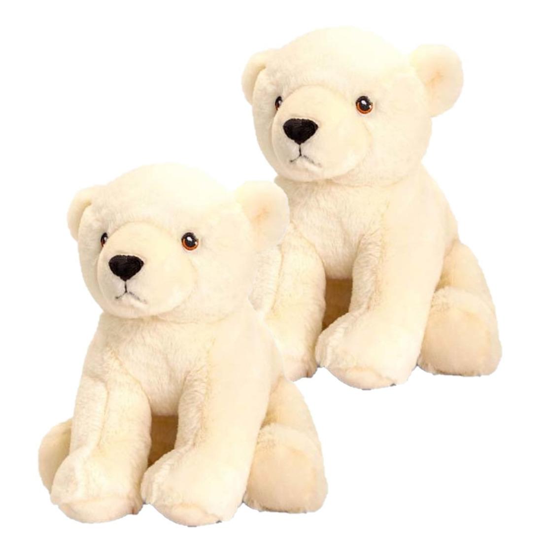 2x stuks kinder knuffels ijsbeer van 25 cm
