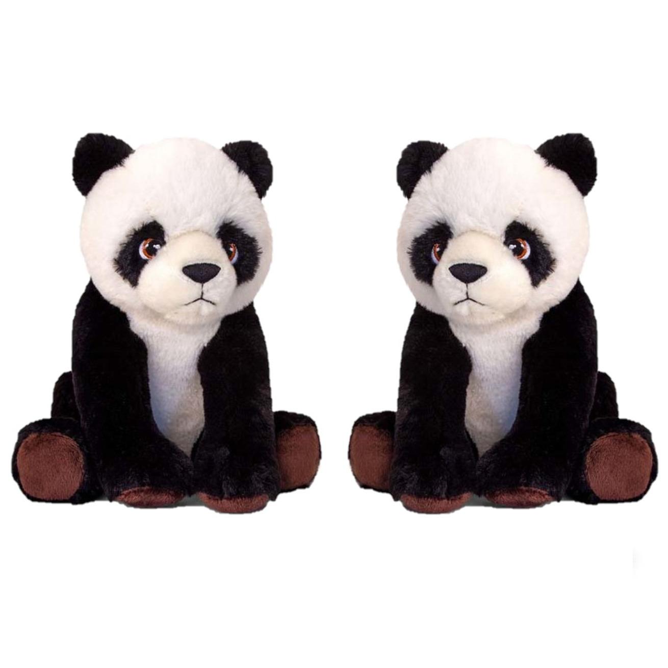 2x stuks kinder knuffels panda beer van 25 cm