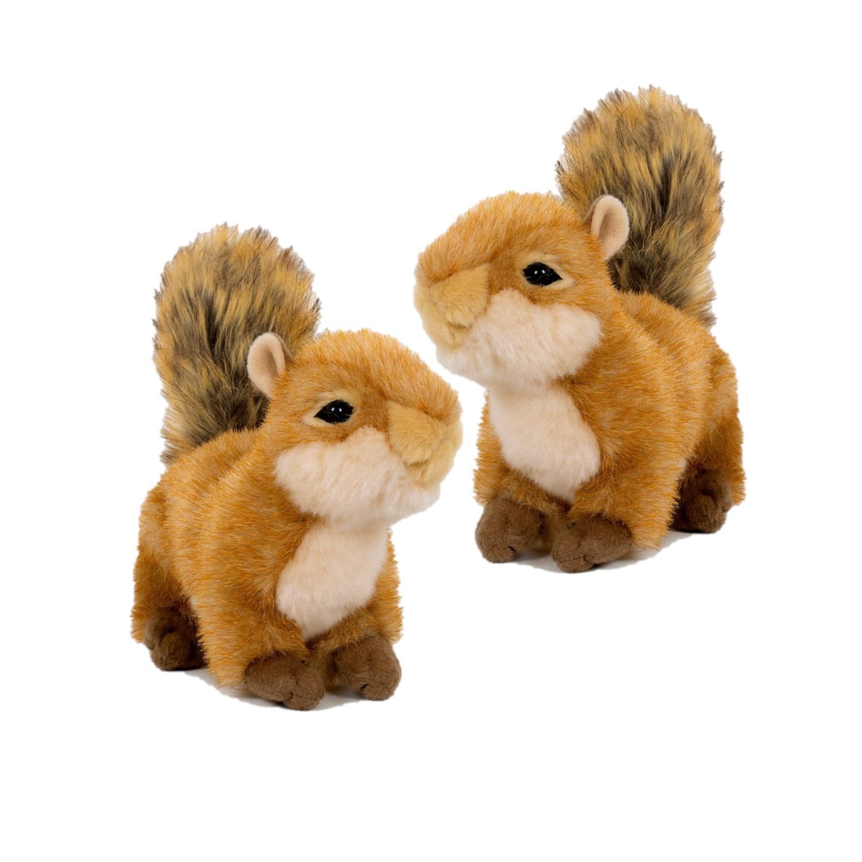2x stuks pluche speelgoed eekhoorn knuffeldier 20 cm