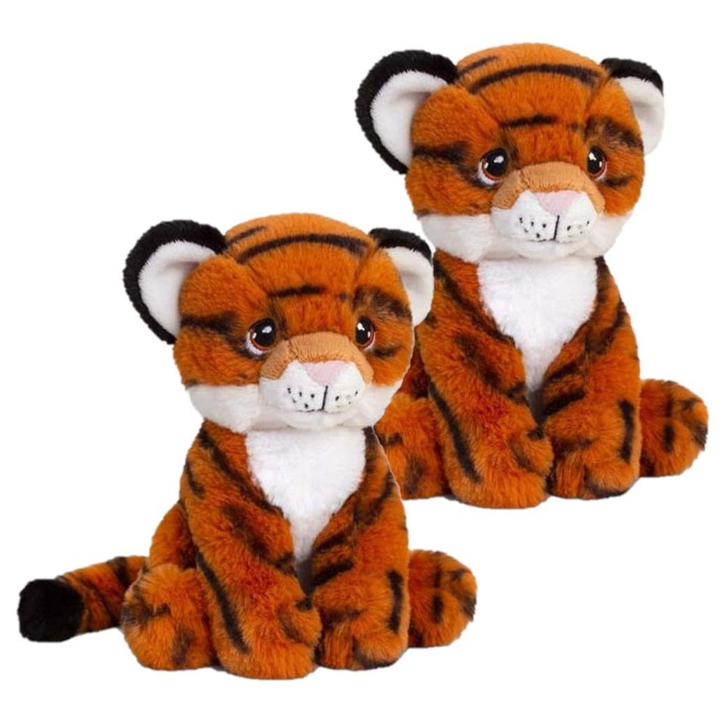2x stuks kinder knuffels tijger van 18 cm
